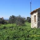 Super prilika, zemljište sa starom kamenom kućom i pogledom na more.
