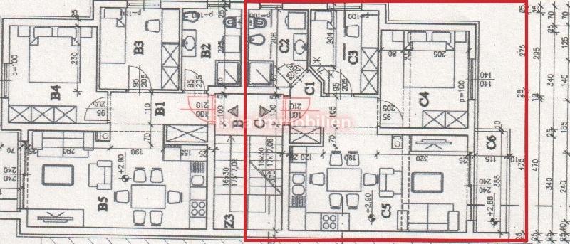 Pula, prvi kat 53,5m2, dvije spavaće sobe.